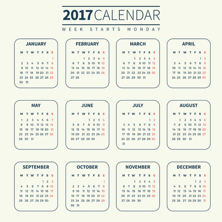 Calendar for 2017 on Pale or Light Background. Week Starts Monday. Simple Vector Template. For web and print design. Vector illustration. Vertical orientation. Monochrome color