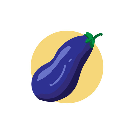 Eggplant color illustration. Vector icon. Graphic symbol. Image Isolated on white background. Aubergine drawing. Vegetable pictogram. Healthy vegetarian nutrition. Cook ingredient. Logo design template. Concept for organic products, harvest, raw food diet