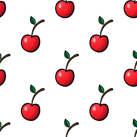 scrap book: Seamless pattern with red cherry on white background. Vector outline illustration. Sweet juicy fruit. Ripe berry. Ideal for wallpaper, greeting card design, restaurant menu cover, textile print, web design, wrapping, decor, scrap book. Repeatable food tex