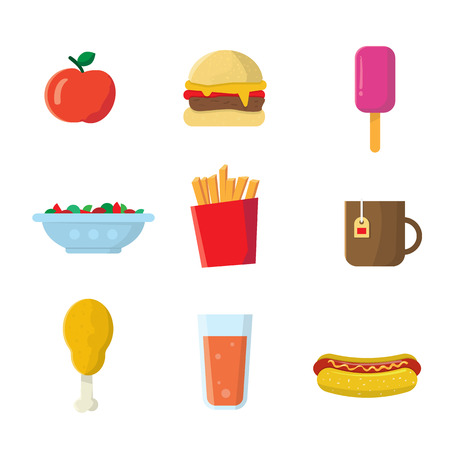 Fastfood junk food cartoon vector icons. Burger,  juice drink, french potato fries, coffee cup, hot dog, salad, ice cream, cheeseburger, sausage. Modern flat design. Isolated on white background. For menu and restaurants.