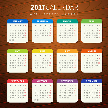 Calendar for 2017 on Wooden Background. Week Starts Monday. Simple Vector Template. For web and print design. Vector illustration. Vertical orientation. Flat design color on wood texture