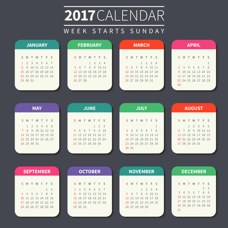 Calendar for 2017 on Dark Background. Week Starts Sunday. Simple Vector Template. For web and print design. Vector illustration. Vertical orientation. Flat design color Ilustração