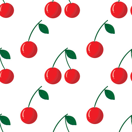 Seamless pattern with red cherry on white background. Vector outline illustration. Sweet juicy fruit.  Ripe berry. Ideal for wallpaper, greeting card design, restaurant menu cover, textile print, web design, wrapping, scrap booking. Repeatable food textur