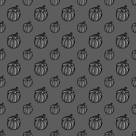 Thanksgiving autumn seamless vector background. Hand drawn pumpkins on grey. Holiday pattern. Perfect for wallpaper, greeting card design, restaurant menu cover, textile print, web design, internet pages, wrapping, scrap booking. Repeatable food texture.