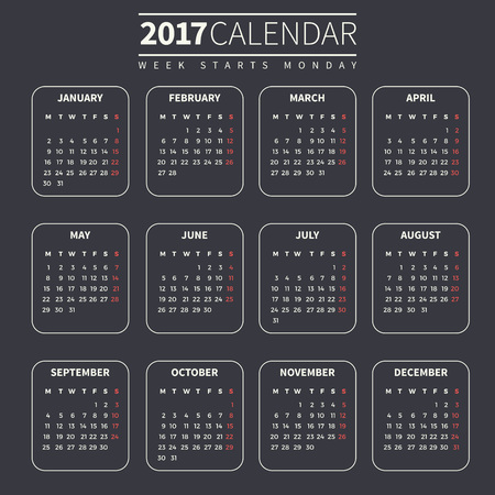 Calendar for 2017 on Dark Background. Week Starts Monday. Simple Vector Template. For web and print design. Vector illustration. Vertical orientation. Red, blue and beige color