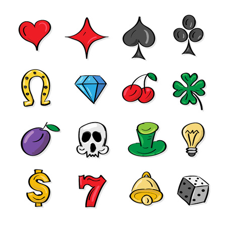 Vector illustration collection  slot machine symbols. Outline icons. Bell, horseshoe, clover, skull, plum, diamond, cherry, dice, heart. Isolated on white backgrond. Gambling Elements. Perfect concept for web design and mobile apps