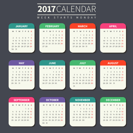 Calendar for 2017 on Dark Background. Week Starts Monday. Simple Vector Template. For web and print design. Vector illustration. Vertical orientation. Flat design color