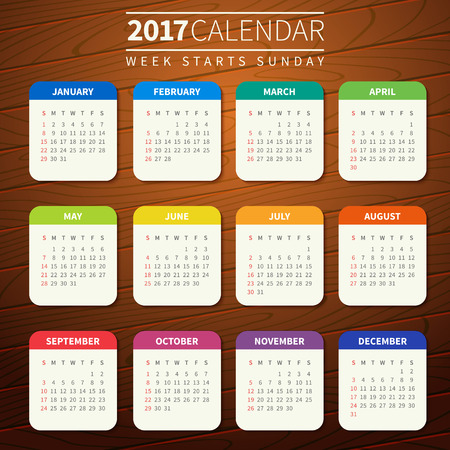 Calendar for 2017 on Wooden Background. Week Starts Sunday. Simple Vector Template. For web and print design. Vector illustration. Vertical orientation. Flat design color on wood texture