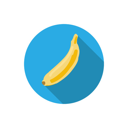 Fresh yellow banana vector illustration. Modern simple flat vegetarian sign. Blue and white backround, long shadow. Flat design style. Colorful fruit icon. Eco food web concept. For logo, apps, buttons Ilustração