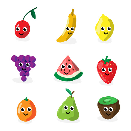 Vector illustration funny cartoon fruit and berry characters. Cherry, kiwi, banana, pear, strawberry, lemon, orange, grape, banana. Concept for organic products, harvest, raw food diet. Ilustração
