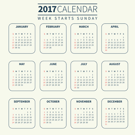 Calendar for 2017 on Pale or Light Background. Week Starts Sunday. Simple Vector Template. For web and print design. Vector illustration. Vertical orientation. Monochrome color