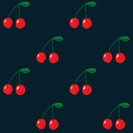 Vector seamless pattern. Red cherry on dark background. Repeatable food texture. Ideal for wallpaper, greeting card design, restaurant menu cover, textile print, web design, wrapping, decor, scrap booking. Juicy fruit. Sweet ripe berry. Ilustração