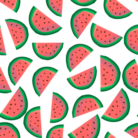 Seamless texture with watermelon slices. Vector illustration. Cute repeatable product design on white background.  Summer food. Ideal for wallpaper, greeting card design, restaurant menu cover, textile print, web design, wrapping, scrap booking, decor.