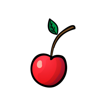 Red cherry isolated on white background. Vector outline illustration. Sweet juicy fruit. Ripe berry. Modern simple flat vegetarian sign. Minimalistic design style. Colorful berry icon. Eco food internet concept. For logo, web apps, buttons