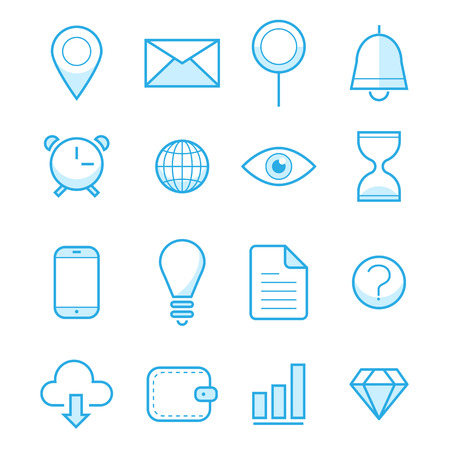 Vector illustration outline web icons set. Business, office work, financial growth, money, finance, management, payments, commerce, marketing. Corporate economic development. For internet and mobile apps, logo and graphics, web design. Thin line symbol co