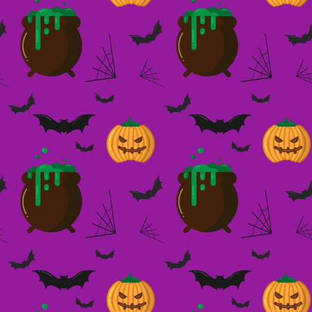 Vector seamless Halloween pattern with orange pumpkin with carved face, witch cauldron boiling the potion, bats and spider web. Design elements for halloween party poster, scrapbook, digital paper, textile print, page fill. Flat cartoon illustration.