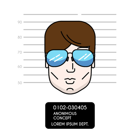 Vector cartoon illustration of police lineup or mugshot of anonymous male. Man head with sunglasses. Modern outline design style. For web, apps. Can be used as avatar or userpic Banco de Imagens - 69554791