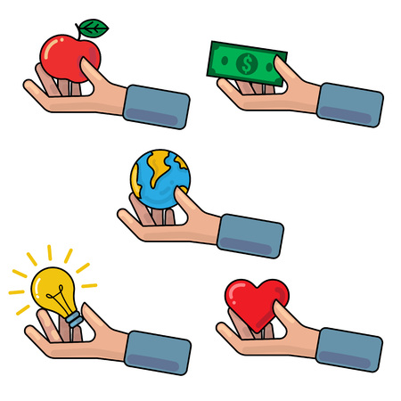 philanthropy: Vector outline illustration with hand holding or giving red apple, Earth globe, money banknote, light bulb, red heart symbol. Concept of investment, donation, crowdfunding, charity, contribution, support, philanthropy