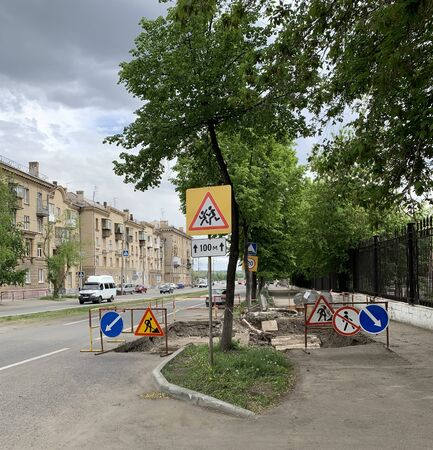 Road works - signs - safe driving