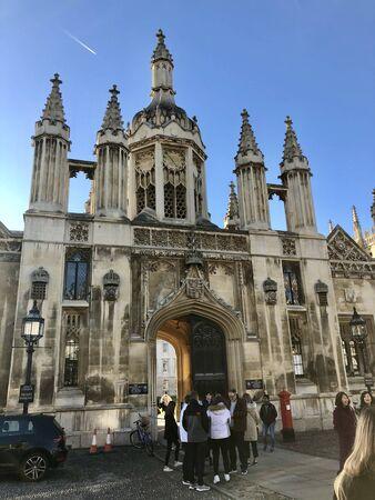 Kings College Cambridge UK England with tourists 写真素材