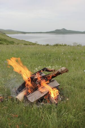 Bonfire in the foreground in a green meadow on the lake