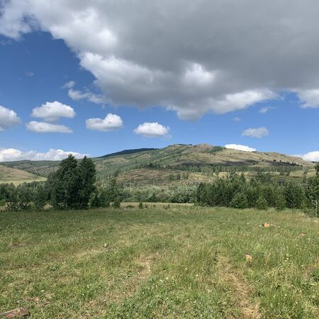 Panoramic view. Beautiful summer landscape. Mountains, blue sky and green fields, forest. A group of clouds in the sky. Peaks landskape background. Tourism, journey, hiking concept.