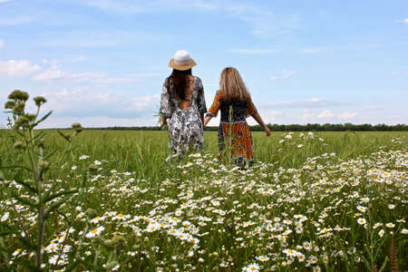 Happy two girls walking through a field of chamomile holding hands... Standard-Bild