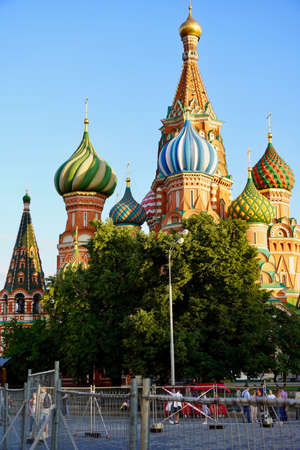 Moscow, Russia - August, 2020: St Basils Cathedral is the main attraction of the Russian capital. Moscow city tour. Summer Landscape. Tourist places are obligatory to visit in Russia.
