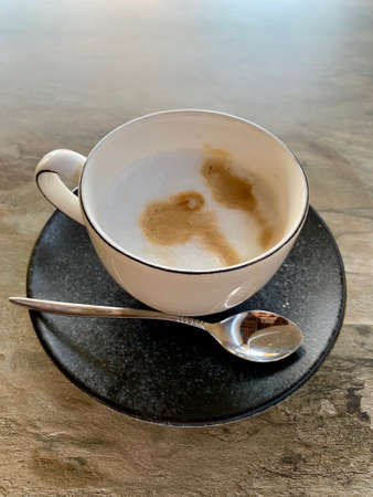 A cup of white coffee cappuccino