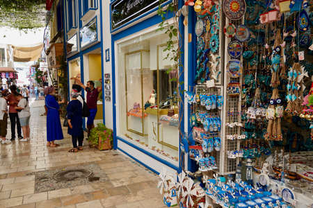 Atmospheric local souvenir markets. Turkish Grand Bazaar. Souvenirs: wind music, dream catcher, evil eye keychain, beads, bracelets, magnetics, toys. High quality photo
