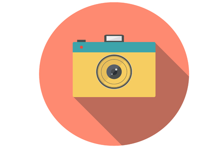 noire: Vintage and retro-styled camera in flat design.