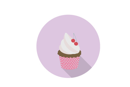 happybirthday: Cupcake in flat design.