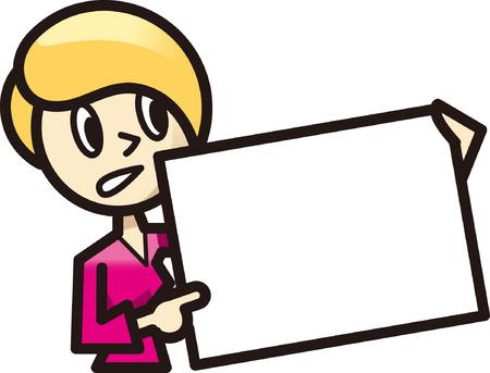 ホワイト ボードで説明する女性  イラスト・ベクター素材