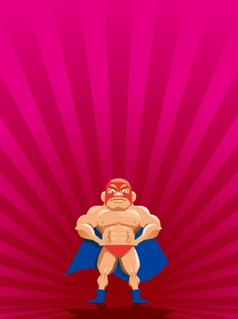 巨大な筋肉覆面ヒーロー  イラスト・ベクター素材
