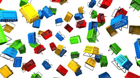 Shopping baskets on white background 写真素材 - 131797306