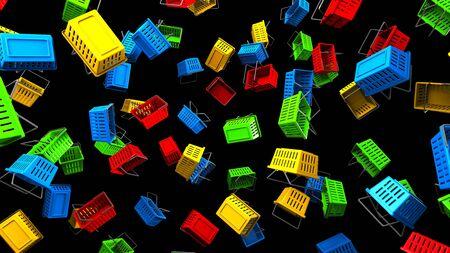 Shopping baskets on black background 写真素材 - 131797301