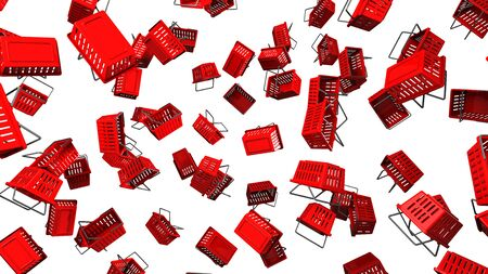 Red Shopping baskets  on white background 写真素材 - 131797303