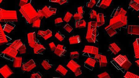 Red Shopping baskets  on black background
