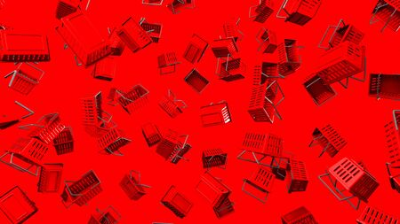 Red Shopping baskets  on red background 写真素材 - 131797304