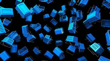 Blue Shopping baskets on black background