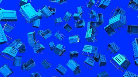 Blue Shopping baskets on blue background