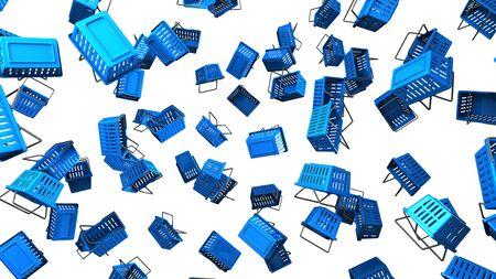 Blue Shopping baskets on white background