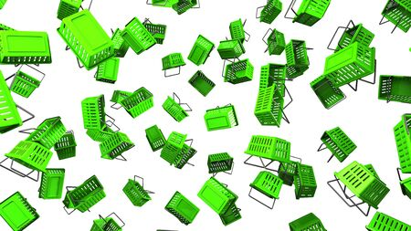 Green Shopping baskets on white background 写真素材 - 131796263