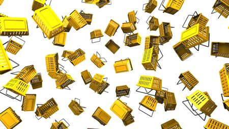 Yellow shopping baskets on white background 写真素材 - 131796211