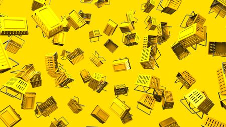 Yellow shopping baskets on yellow background 写真素材 - 131796199
