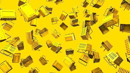 Yellow shopping baskets on yellow background