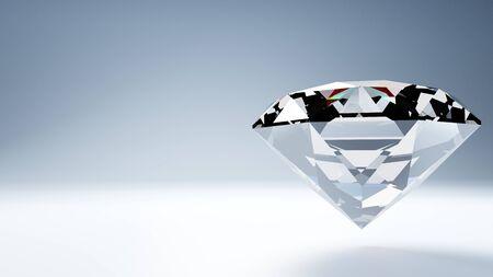 Diamond on white text space