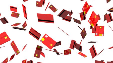 Red Credit cards on white background 写真素材 - 131797313