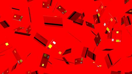 Red Credit cards on red background 写真素材 - 131797318