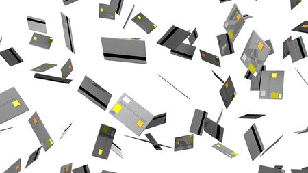 Gray Credit cards on white background 写真素材